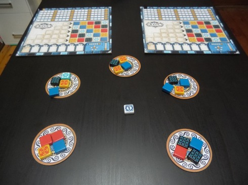 Set up for two players.